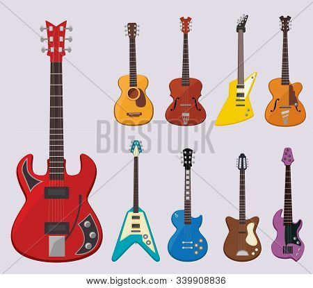 Musical Guitar. Live Concert Instruments Sound Plays Various Objects Classical Guitars Vector Illust