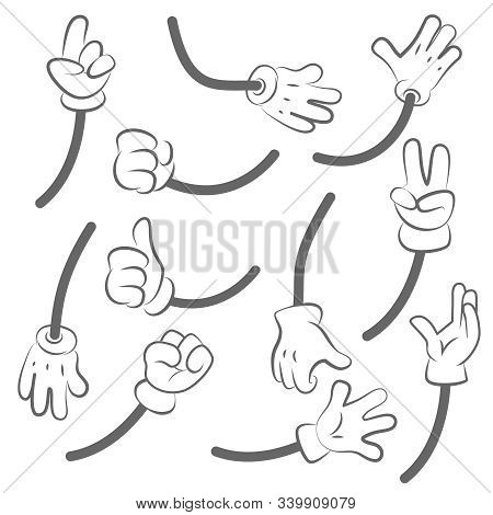 Cartoon Hands. Body Parts Collection Hands Animation Vector Creation Kit. Human Gesture Hand, Forefi