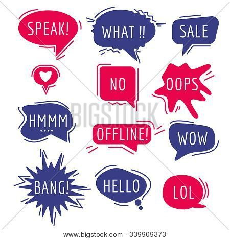 Speech Bubbles Text. Thinking Words And Phrase Sound Humor Sticker Communication Tags Speaking Expre