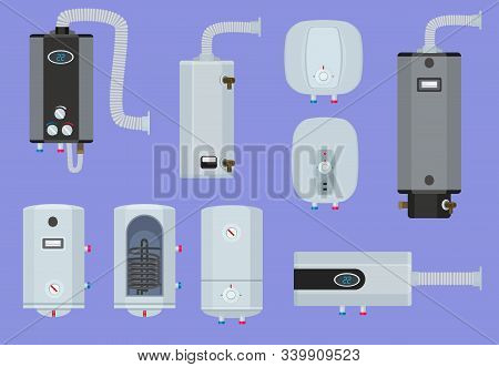 Heater Systems. Water Boiler House Gas Station Warm Technology Vector Set. Illustration Boiler For H