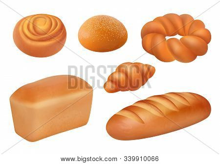 Bread Realistic. Bakery Food Fresh Tasting Products French Loaf Baguette Buns Vector Breakfast Pictu