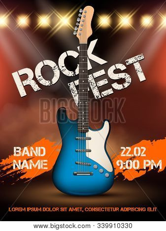 Rock Festival Invitation. Music Guitar Realistic Illustration Poster With Place For Your Text Event
