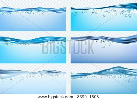 Water Waves. Blue Flowing Realistic Waves Splashes Fresh Liquid Products Drinks Raindrops Vector. Wa