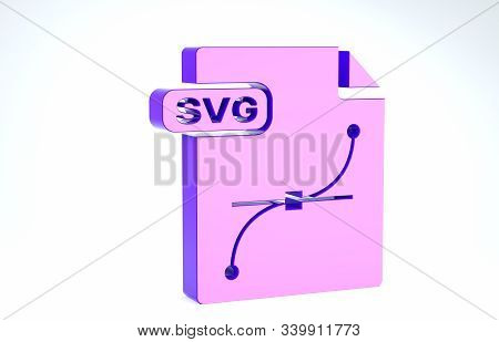Purple Svg File Document. Download Svg Button Icon Isolated On White Background. Svg File Symbol. 3d