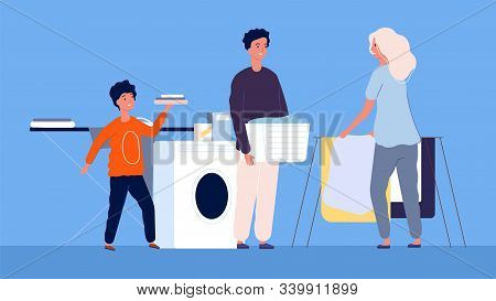 Housework. Mom With Children Cleaning And Washing, Ironing. Family Is Cleaning, Laundry Vector Illus