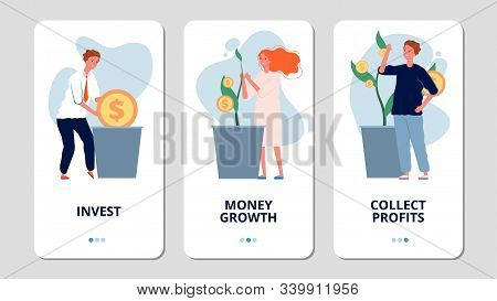 Investments. Online Investment Bank App Pages. People Grow Money, Collect Profits. Money Growth Vect