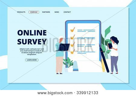 Online Survey Landing Page. Choice List, Quality Questionnaire. People Answering Question, Business