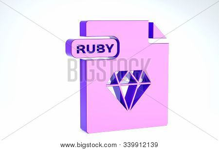 Purple Ruby File Document. Download Ruby Button Icon Isolated On White Background. Ruby File Symbol.