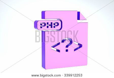 Purple Php File Document. Download Php Button Icon Isolated On White Background. Php File Symbol. 3d