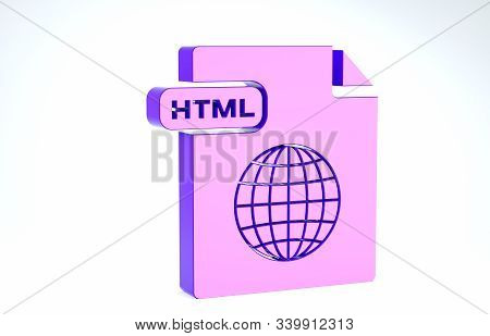 Purple Html File Document. Download Html Button Icon Isolated On White Background. Html File Symbol.