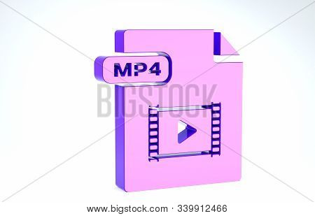 Purple Mp4 File Document. Download Mp4 Button Icon Isolated On White Background. Mp4 File Symbol. 3d