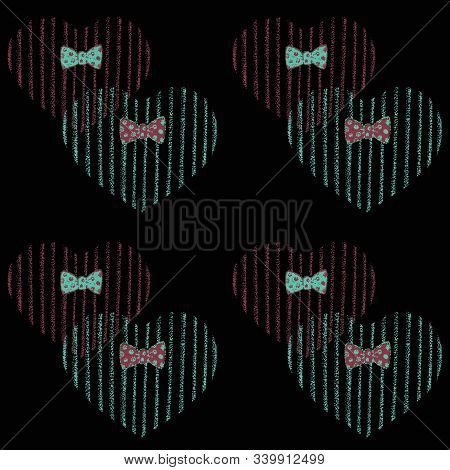 Pattern With Cute Hearts In Bow Ties Using Pointillism Liner Technique.