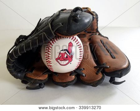Chicago, Il September 9, 2019, Close Up  View Of A White Baseball Ball Chief Wahoo Cleveland Indians