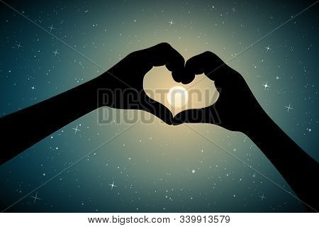 Heart Shaped Hands On Moonlit Night. Romantic Vector Illustration With Hand Gesture Silhouette On St