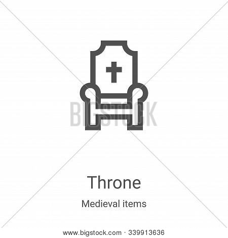 throne icon isolated on white background from medieval items collection. throne icon trendy and mode