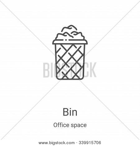 bin icon isolated on white background from office space collection. bin icon trendy and modern bin s
