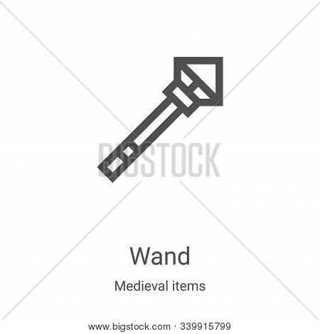 wand icon isolated on white background from medieval items collection. wand icon trendy and modern w