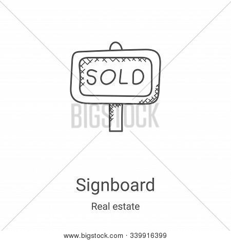 signboard icon isolated on white background from real estate collection. signboard icon trendy and m