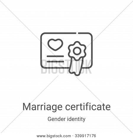 marriage certificate icon isolated on white background from gender identity collection. marriage cer