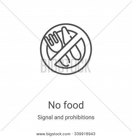 no food icon isolated on white background from signal and prohibitions collection. no food icon tren