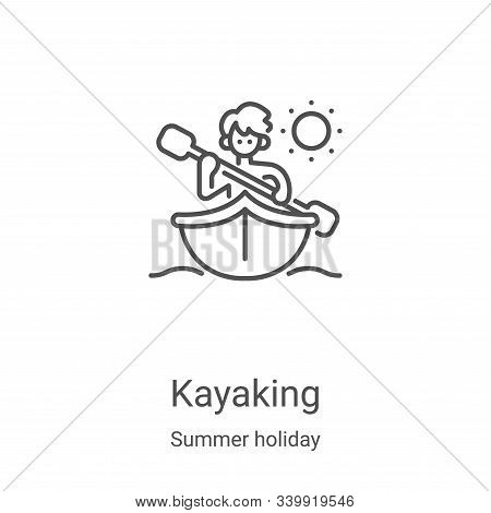 Kayaking icon isolated on white background from summer holiday collection. Kayaking icon trendy and