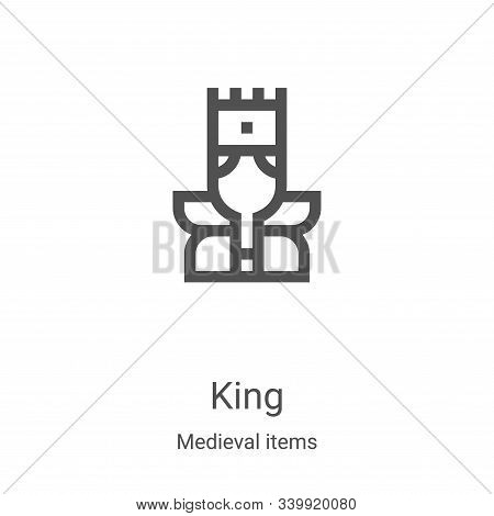 king icon isolated on white background from medieval items collection. king icon trendy and modern k