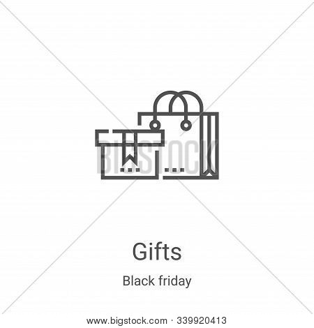 gifts icon isolated on white background from black friday collection. gifts icon trendy and modern g