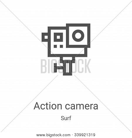 action camera icon isolated on white background from surf collection. action camera icon trendy and
