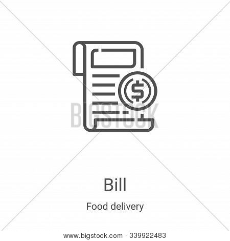 bill icon isolated on white background from food delivery collection. bill icon trendy and modern bi