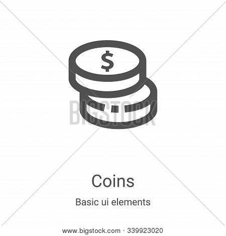 coins icon isolated on white background from basic ui elements collection. coins icon trendy and mod