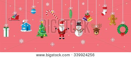Christmas Greetings Ornament Elements Hanging In Red Background. Santa Claus, Christmas Tree, Bell,