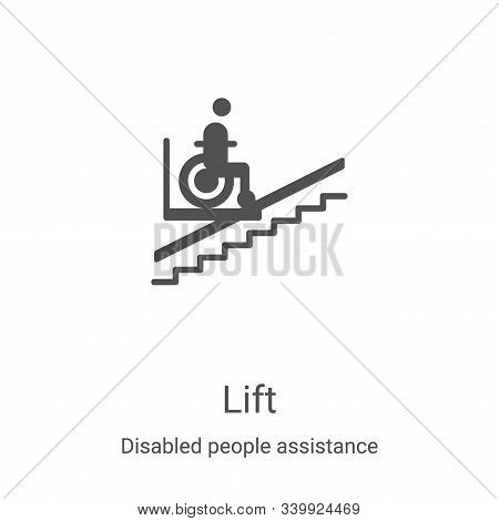 lift icon isolated on white background from disabled people assistance collection. lift icon trendy