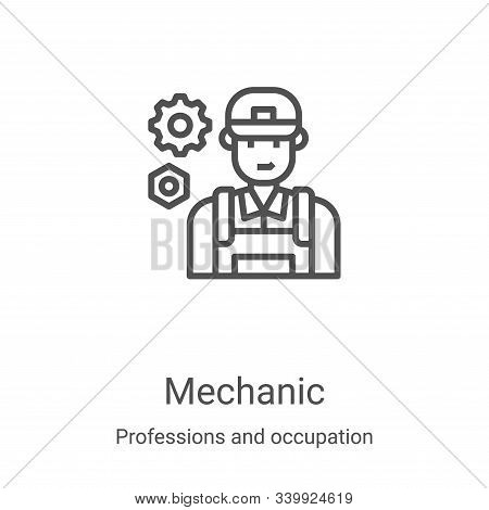 mechanic icon isolated on white background from professions and occupation collection. mechanic icon
