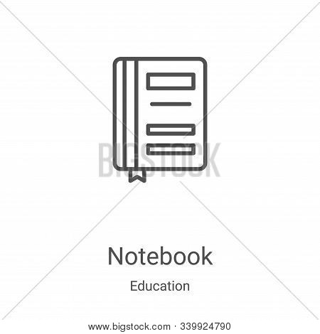 notebook icon isolated on white background from education collection. notebook icon trendy and moder