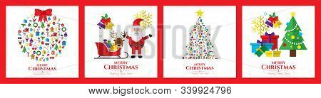 Santa Claus, Christmas Tree And Christmas Elements