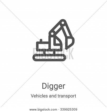 digger icon isolated on white background from vehicles and transport collection. digger icon trendy