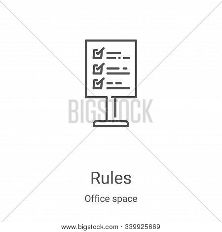 rules icon isolated on white background from office space collection. rules icon trendy and modern r