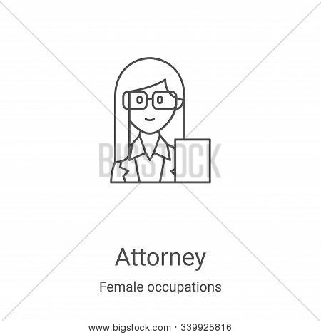 attorney icon isolated on white background from female occupations collection. attorney icon trendy