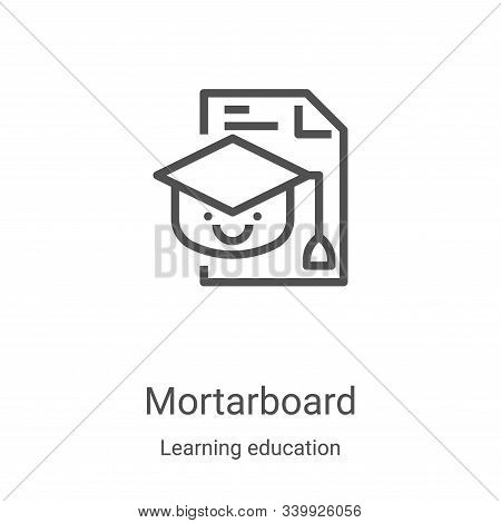 mortarboard icon isolated on white background from learning education collection. mortarboard icon t