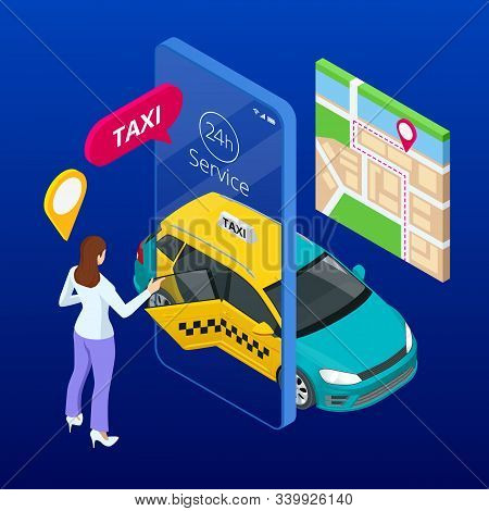 Taxi Service. Mobile Phone With Taxi App On City Background. Online Mobile Taxi Order Service App. I