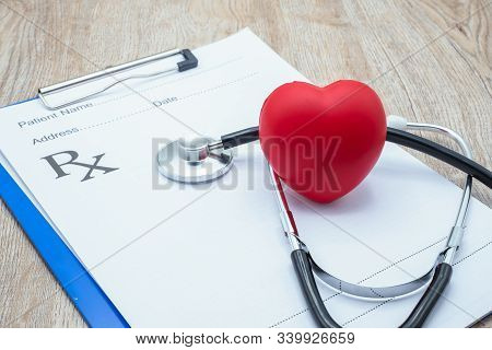 Red Heart And Medical Stethoscope   Put On The Doctor's Charging Plate.health Examination Concept He