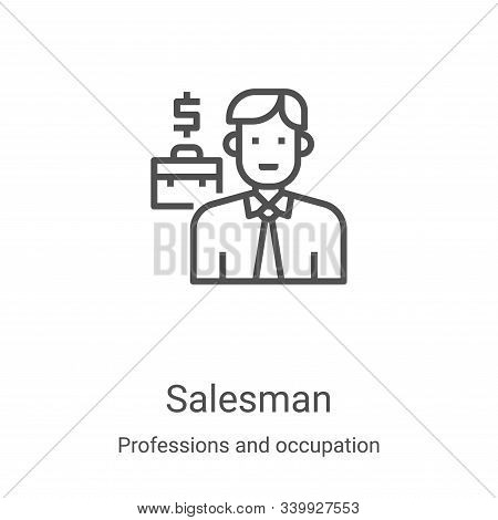 Salesman icon isolated on white background from professions and occupation collection. Salesman icon
