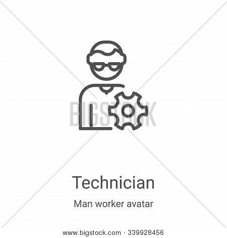 technician icon isolated on white background from man worker avatar collection. technician icon tren