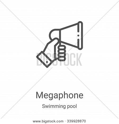 megaphone icon isolated on white background from swimming pool collection. megaphone icon trendy and