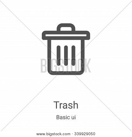 trash icon isolated on white background from basic ui collection. trash icon trendy and modern trash