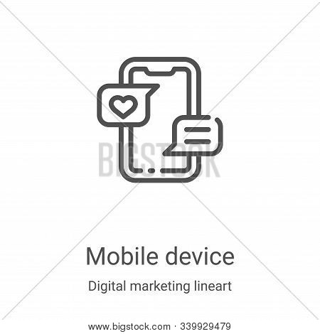 mobile device icon isolated on white background from digital marketing lineart collection. mobile de