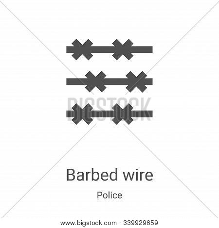 barbed wire icon isolated on white background from police collection. barbed wire icon trendy and mo