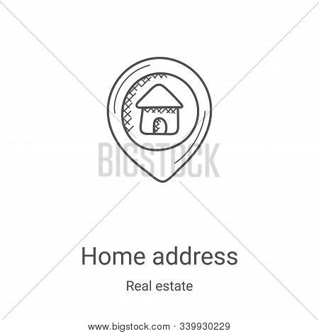 home address icon isolated on white background from real estate collection. home address icon trendy