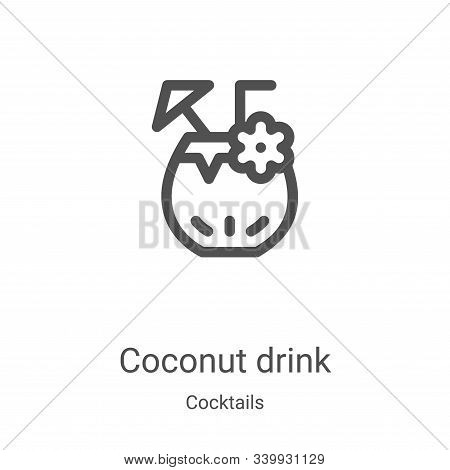 coconut drink icon isolated on white background from cocktails collection. coconut drink icon trendy