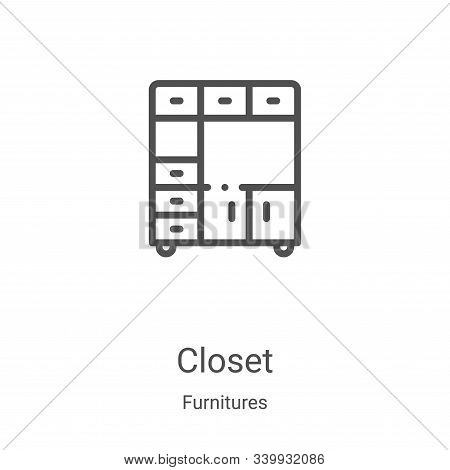 closet icon isolated on white background from furnitures collection. closet icon trendy and modern c